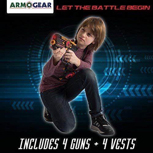 ArmoGear Infrared Laser Tag Blasters and Vests Laser Battle Mega Pack Set of 4