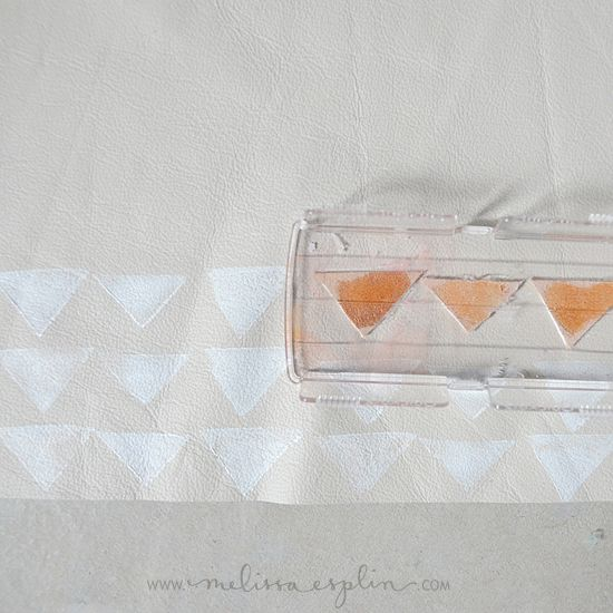 DIY triangle stamped leather pillow from dear lizzy