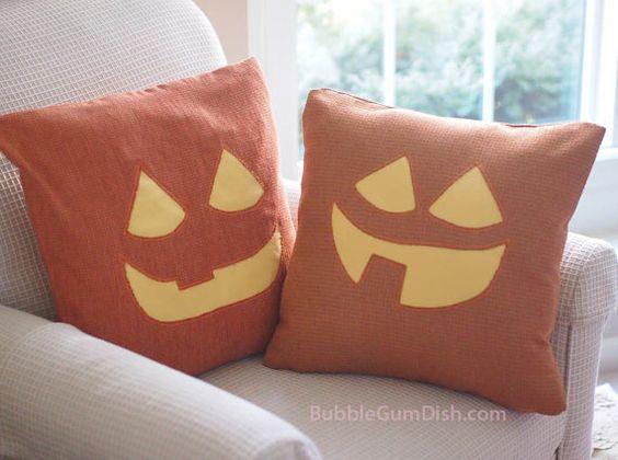 Jack o Lantern Pillow Cover TABITHA Pumpkin Cute Halloween Decor by BubbleGumDish
