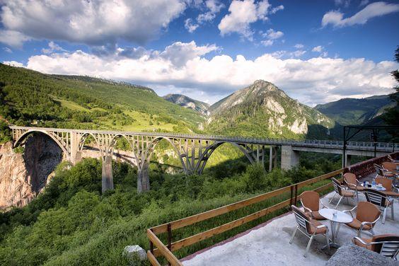 Djurdjevich Bridge over Tara river from cafe   by nsapronov