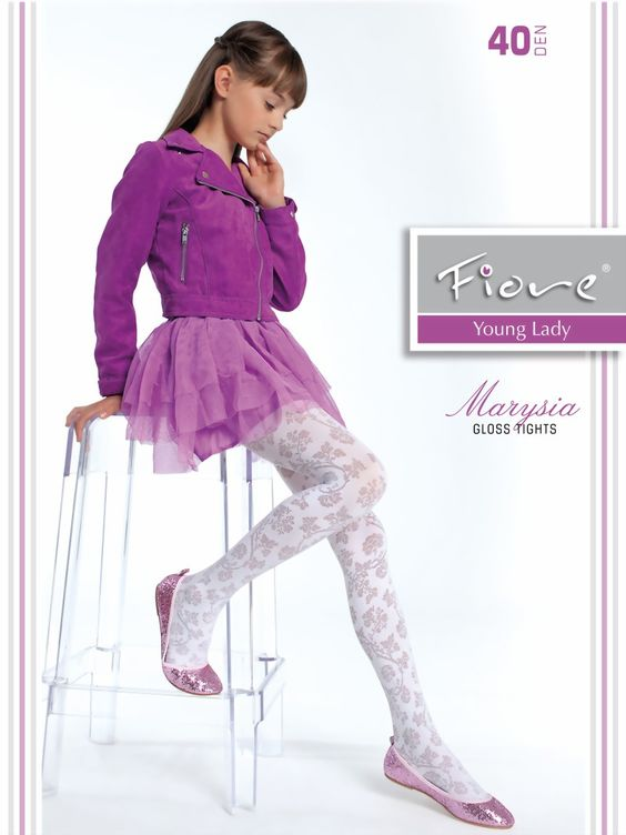 Elegant floral pattern tights for girls, 40 denier. Chic and elegance for every Young Lady. Available in various colors and sizes. 87% polyamide, 13% elastane Available colours: fuchsia, white size 1- 110-122 cm size 2-...