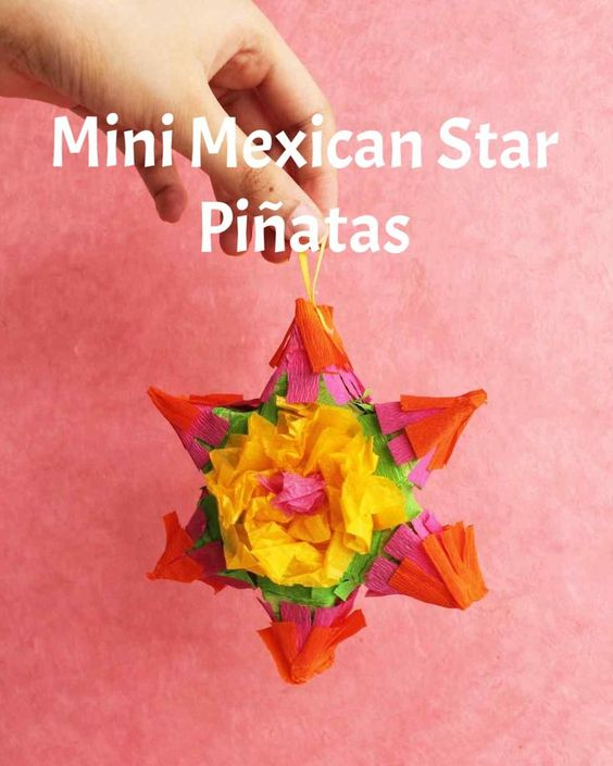 Miniature Mexican Star Piñatas   Martha Stewart Living - No sticks or blindfolds required to bust open these small pinatas -- they easily break open in your hands! Present one to each guest as a take-home party favor, filled with treats and candy.