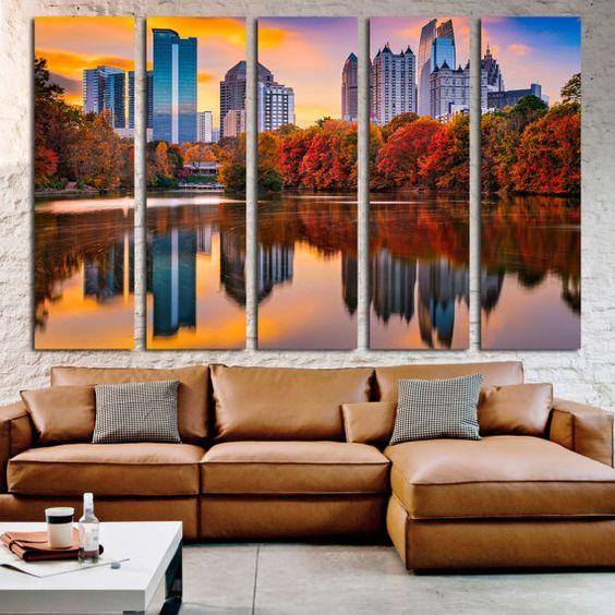 Atlanta Georgia Large Canvas Print, Piedmont Park Skyline In Autumn Art  Canvas Print, Atlanta