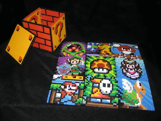 8 Bit Nintendo Coaster Set Made From Perler Beads This Is