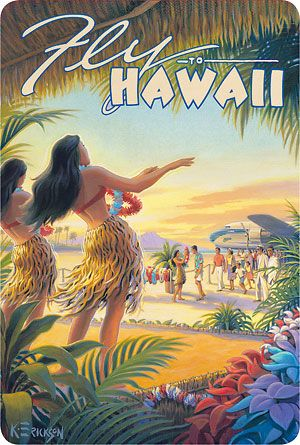 Fly To Hawaii - Hawaiian Vintage Postcard