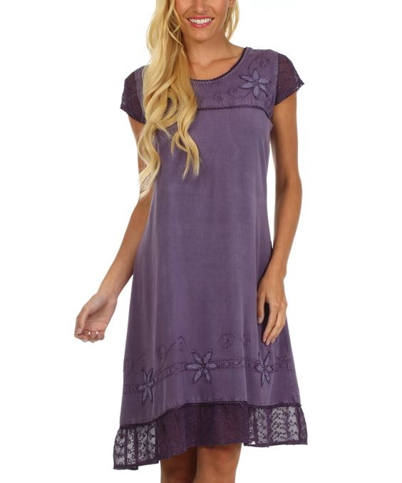 Sakkas Purple Embroidered Tie-Back Dress | zulily  $32.99 $80.00    An A-line silhouette flows over curves and allows for easy movement, while a tie on the back comfortably tapers the bodice.         100% rayon     Hand wash; tumble dry