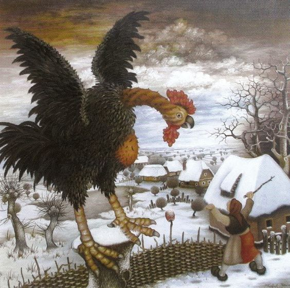 "Перо Топляк-Петрина ""Черный петух""масло/холст. 700х700 мм. 2009 г:"