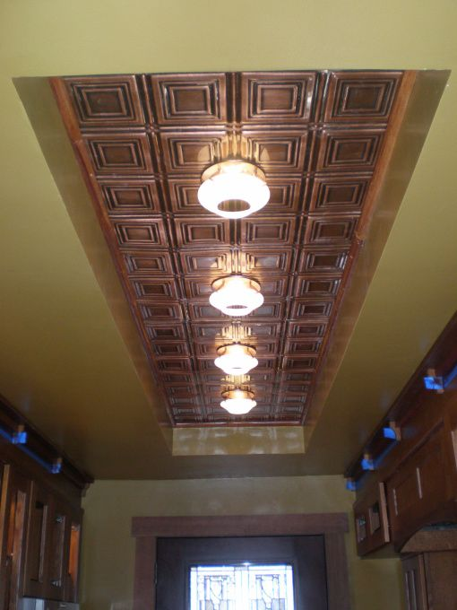 Oak Cabinets Can Lights And Copper On Pinterest
