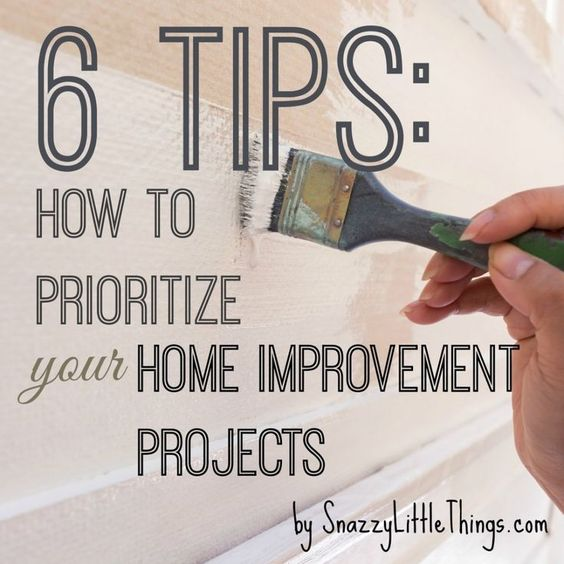 6 Tips: How to Prioritize Home Improvement Projects (Based on Your Time and Budget)- by SnazzyLittleThings.com