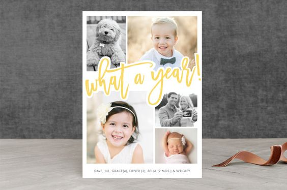 """""""What A Year!"""" - Modern New Year Photo Cards in Lemon by Beth Schneider."""