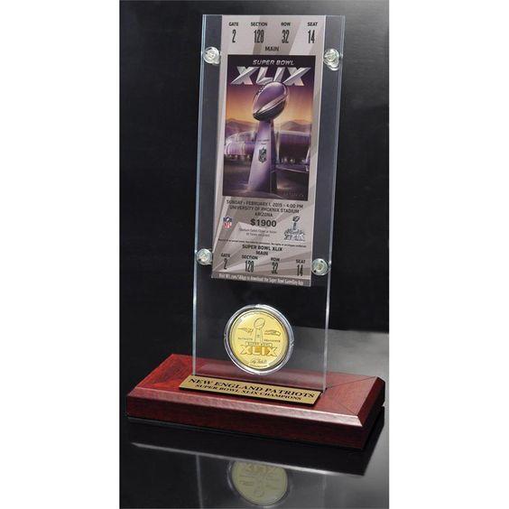 Highland Mint New England Patriots Super Bowl Xlix Champions Ticket and Bronze Coin Acrylic Desk Top