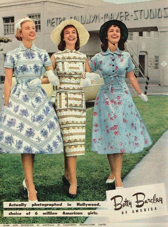 1956 Betty Barclay 1 1950s Fashion Womens Printed Dresses Fashion
