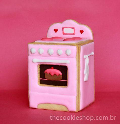 Como transformar uma idéia em um biscoito decorado – fogãozinho de biscoito 3D – The Cookie Shop