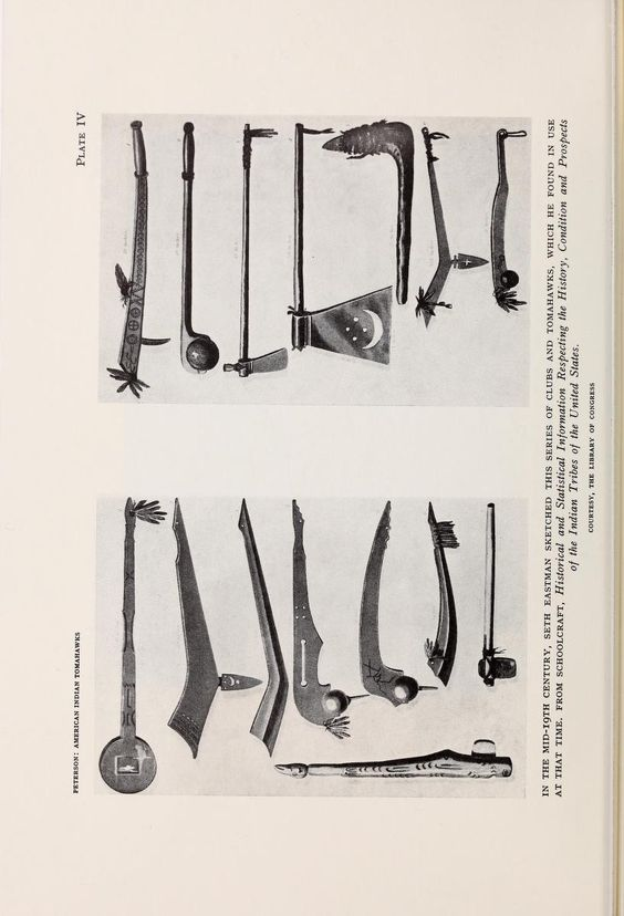 War clubs and hawks from American Indian tomahawks