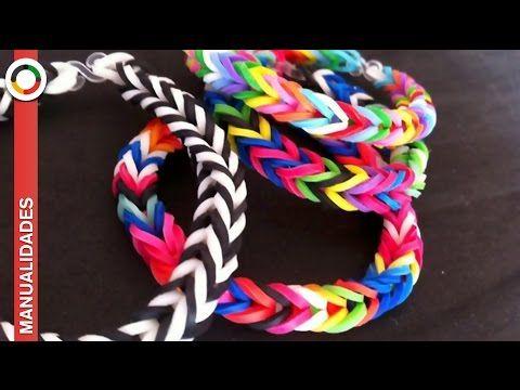 Cómo Hacer Pulseras Con Gomas De Colores Manualidades Rainbow Loom Rubber Bands Rainbow Loom Bracelets Novelty Fabric