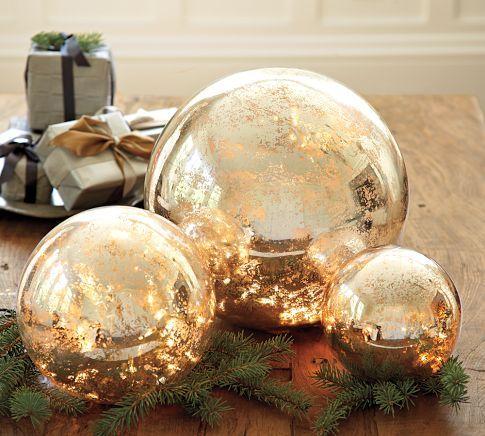 Lit Mercury Glass Globes