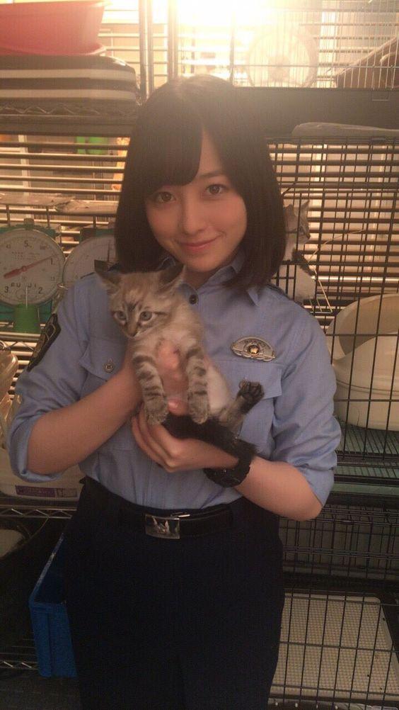 猫の赤ちゃんを抱く橋本環奈