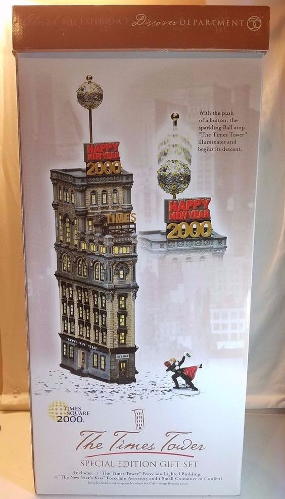 Dept 56 THE TIMES TOWER 55510 (Times Square 2000) Special Edition Set Retired  #Department56 #Dept56 #NewYears #NewYork #TimesTower #TimesSquare #1999 #Retired