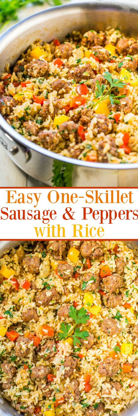 Easy One-Skillet Sausage and Peppers with Rice - Juicy sausage, crisp peppers, onions, and rice all cook together in one skillet! Makes cleanup a breeze! Packed with flavor and ready in 30 minutes!!