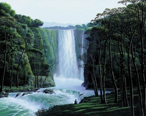 Artwork By Tomas Sanchez Contemplador De La Cascada Made Of Acrylic On Canvas Paisajes Cascadas Arte