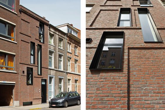 """Rowhouse in Leuven by lava architects; love the way the window """"insertions"""" subvert the expected traditional window placements which are presented as framed openings on the facade"""
