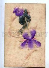 185504 ART NOUVEAU Iris SAHARET DANCER Vintage SILK EMBOSSED