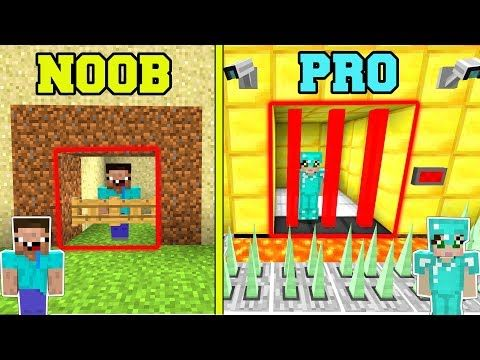 Minecraft Noob Vs Pro Secure Prison Escape In Minecraft Youtube Prison Escape Noob Prison