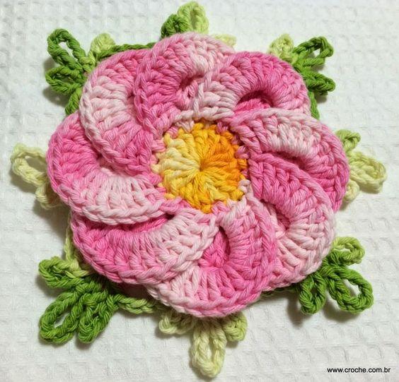 Bergamota paso a paso de la flor | Croche.com.br: