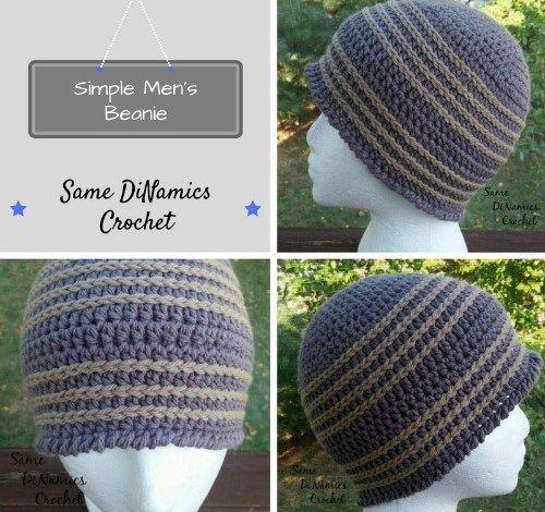 Simple Men S Beanie Free Crochet Pattern Crochet Hats Free Pattern Crochet Mens Hat Mens Beanie Crochet Pattern