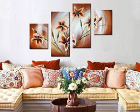 Noah Art Contemporary Flower Paintings Of Nature, 4 Panel Hand Painted  Gallery Wrapped Floral Oil Paintings Wall Art, Ready To Hang For Bedroom  Home Decor ...