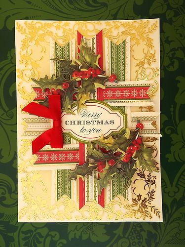 Anna Griffin Christmas card - I'll be this could be done with strips of Christmas ribbons