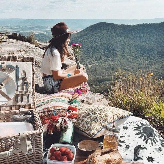 wanderlust boho areas picnic on mountain