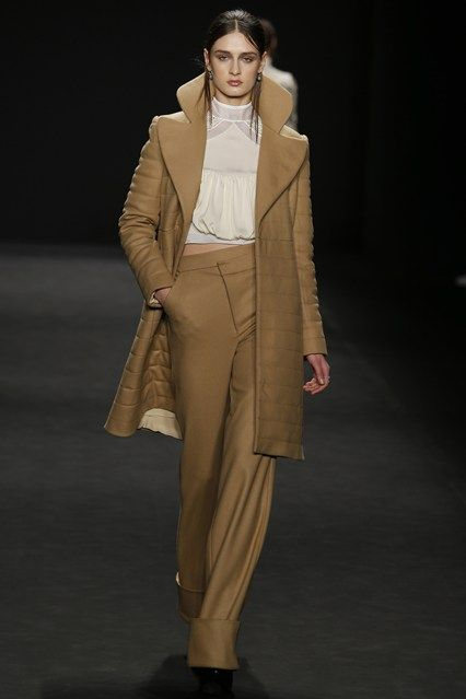 Vivienne Tam - Camel long coat with large lapels and wide leg pants. #fw15 #nyfw