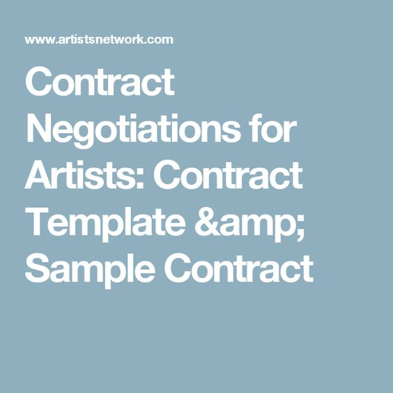 Contract Negotiations for Artists Contract Template  Sample Contract - sample advertising contract template