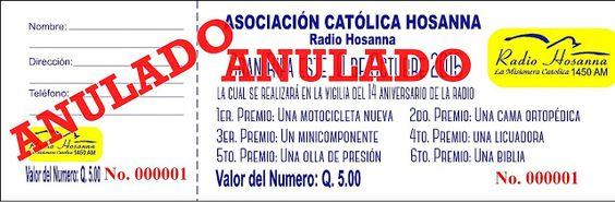 Radio Hosanna 1450 AM.  La Misionera.: Rifa a Beneficio de la Evangelización
