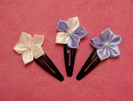DIY kanzashi flower hairclips,ribbon flowers tutorial,how to make,kanzas...