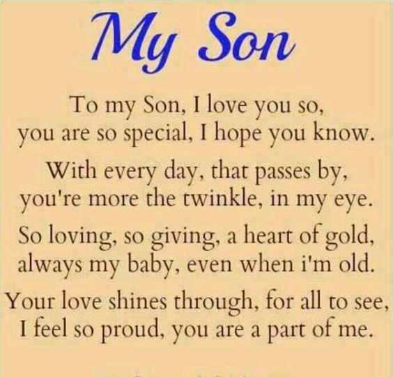 I love you & couldnt be prouder, son!