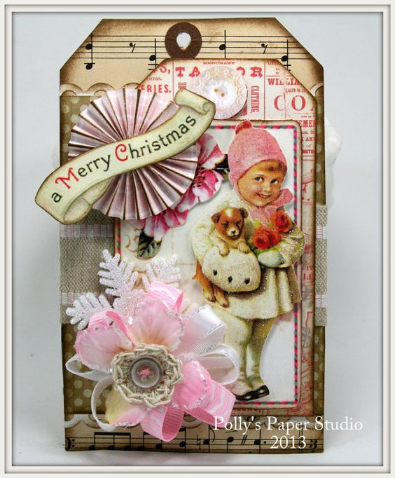 Christmas Tags Kit to make 5 Large Vintage by PollysPaper on Etsy, $25.00