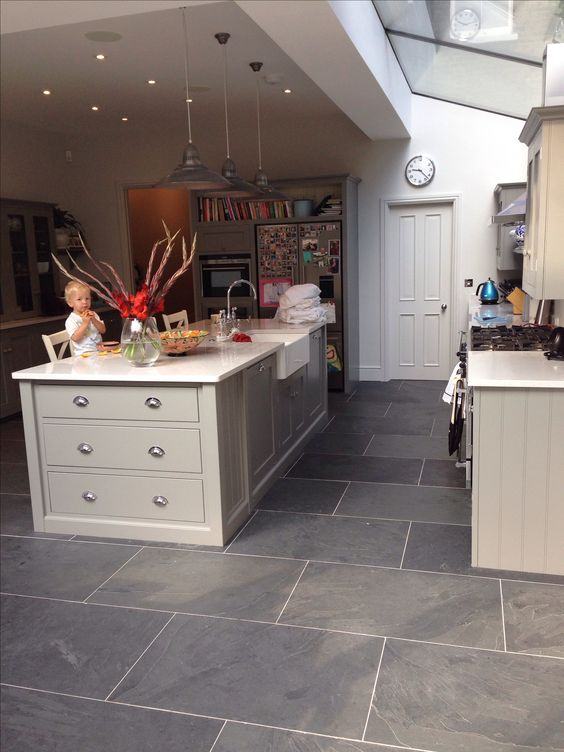 Love The Flooring Kitchen Floors Layout Grey Slate Flooring Side