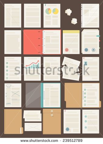 Vector set of different office and business documents, sheets of papers, folders and blanks, flat design, top view - stock vector