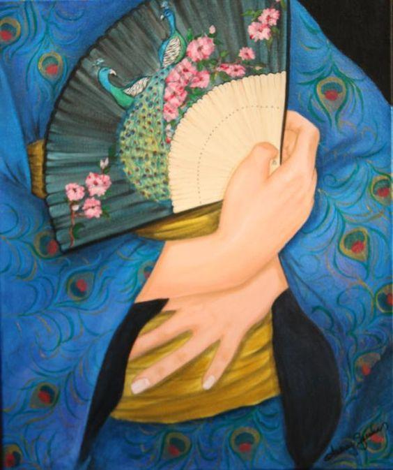 fine artistic geisha art   Peacock Geisha Painting by Audrey Sullivan - Peacock Geisha Fine Art ...