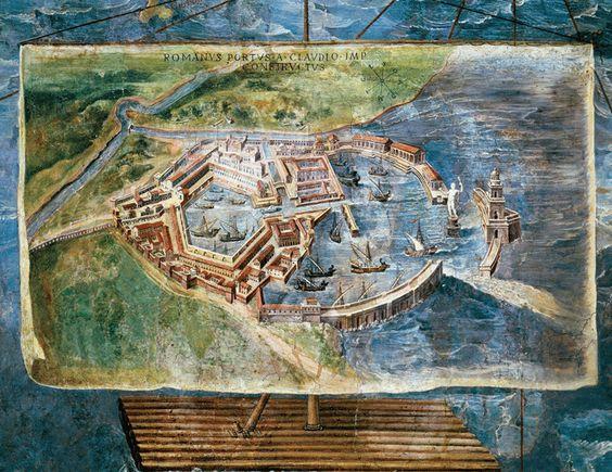 Portus, nu zo'n drie kilometer van de Middellandse Zee, werd in de 1e eeuw na Christus door de Romeinen gebouwd als hun belangrijkste zeehaven. Een 16e-eeuws fresco in het Vaticaanpaleis toont een geïdealiseerde reconstructie van de grootse architectonische en technische kenmerken van Portus.