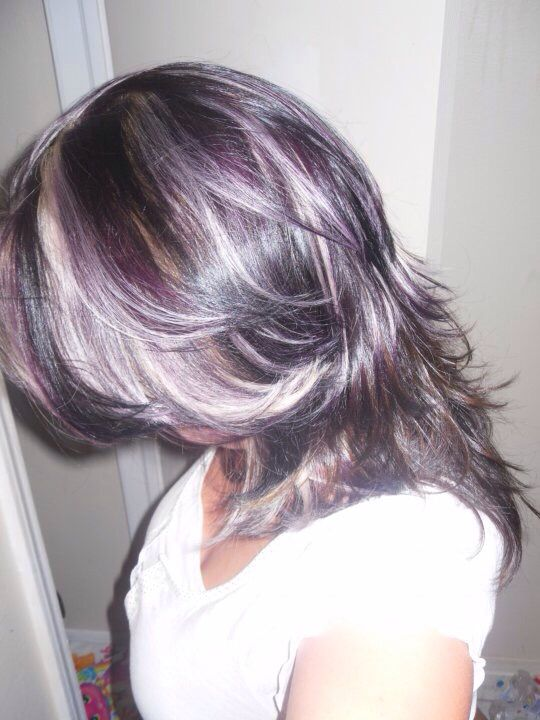 This was my hair with darkest brown with blonde and purple highlights !!! I loved it , about to do it again !!!!
