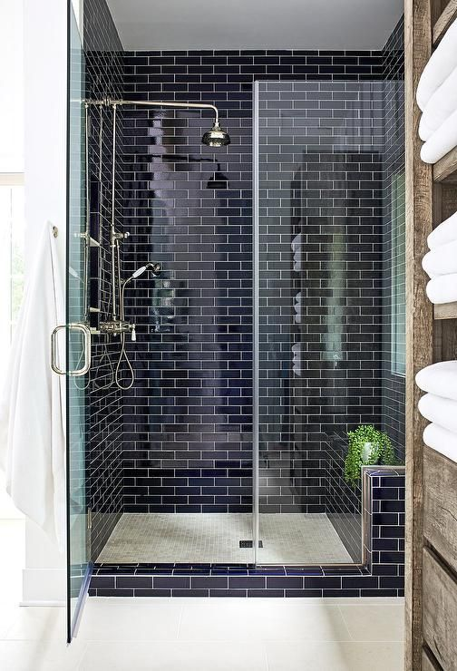 Navy Tile Trend Alert Showertiles With Images Shower Wall