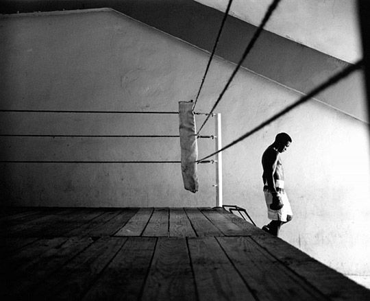 Old school boxing ring would be made out of wood. What could we make it out of to work within our artistic vision? -GG