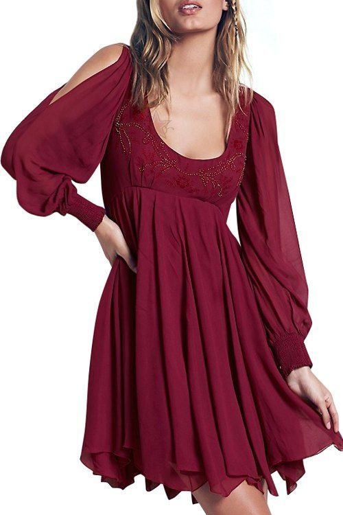 Long Sleeve Chiffon Flowing Dress  Scoop neck Sleeve and Long sleeve