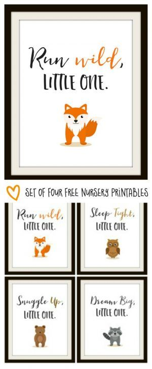 Print off these free printables - fox, owl, bear and raccoon for your woodland nursery!