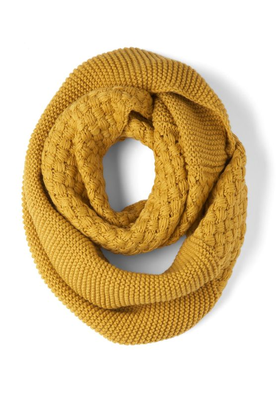 Circle scarf in mustard: Circle Scarf, Infinity Scarfs, Yellow Modcloth, Mustard Scarf, Brick Cold, Scarf Modcloth