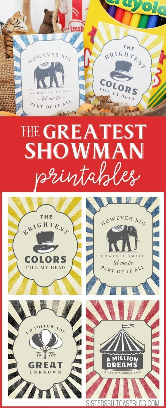 The Greatest Showman Printables My Sister S Suitcase Circus Birthday Party Circus Birthday Girl Camping Parties