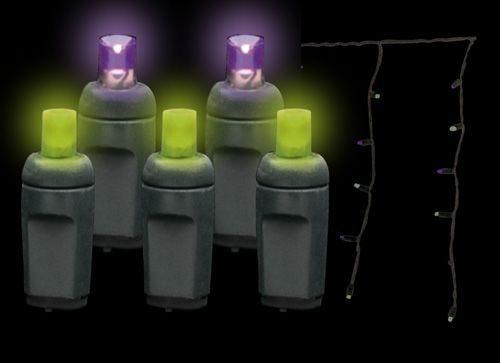 5MM LED Halloween Icicle Lights in Purple and Frankenstein Green